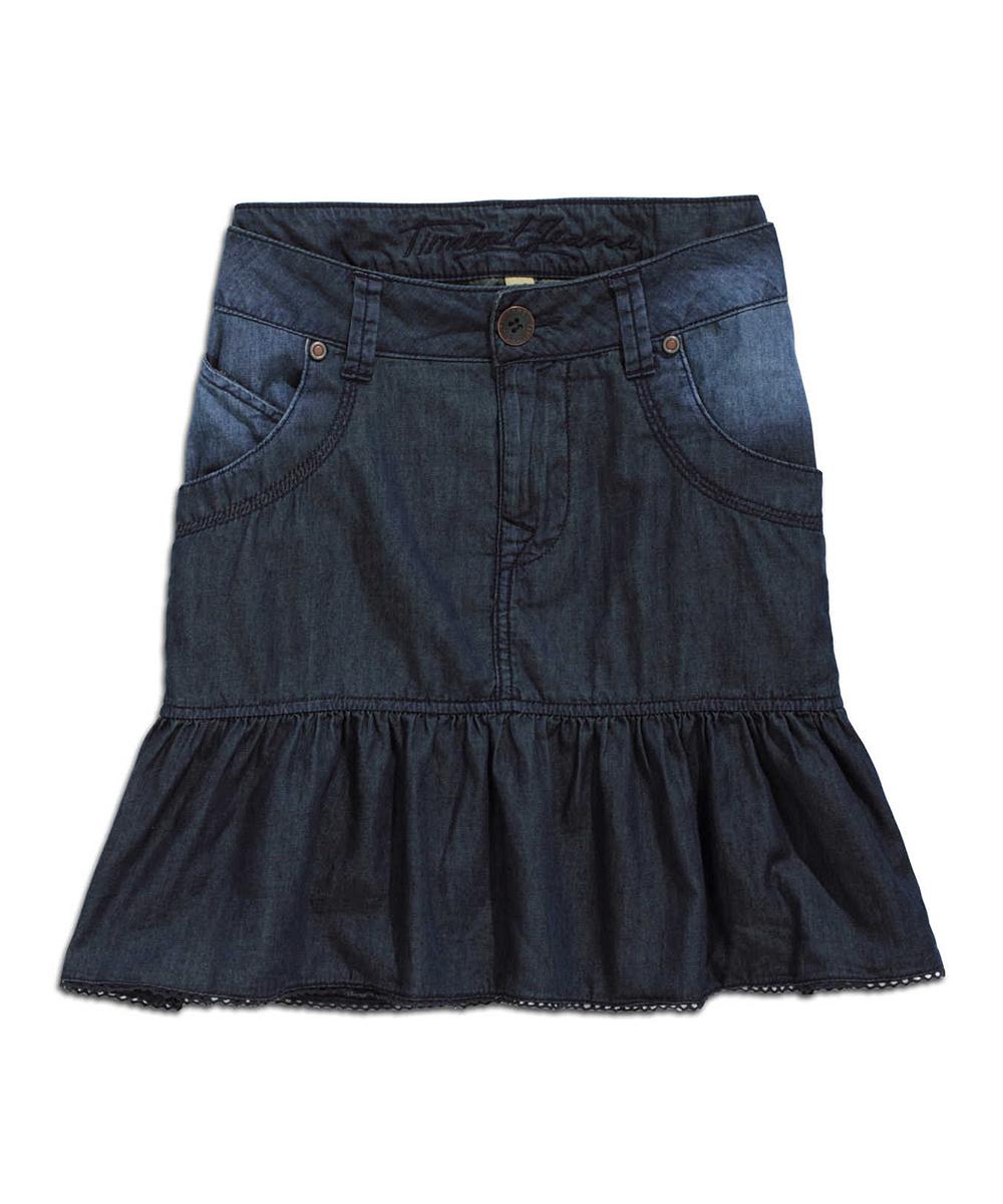 timeout summer blue ruffle denim skirt zulily