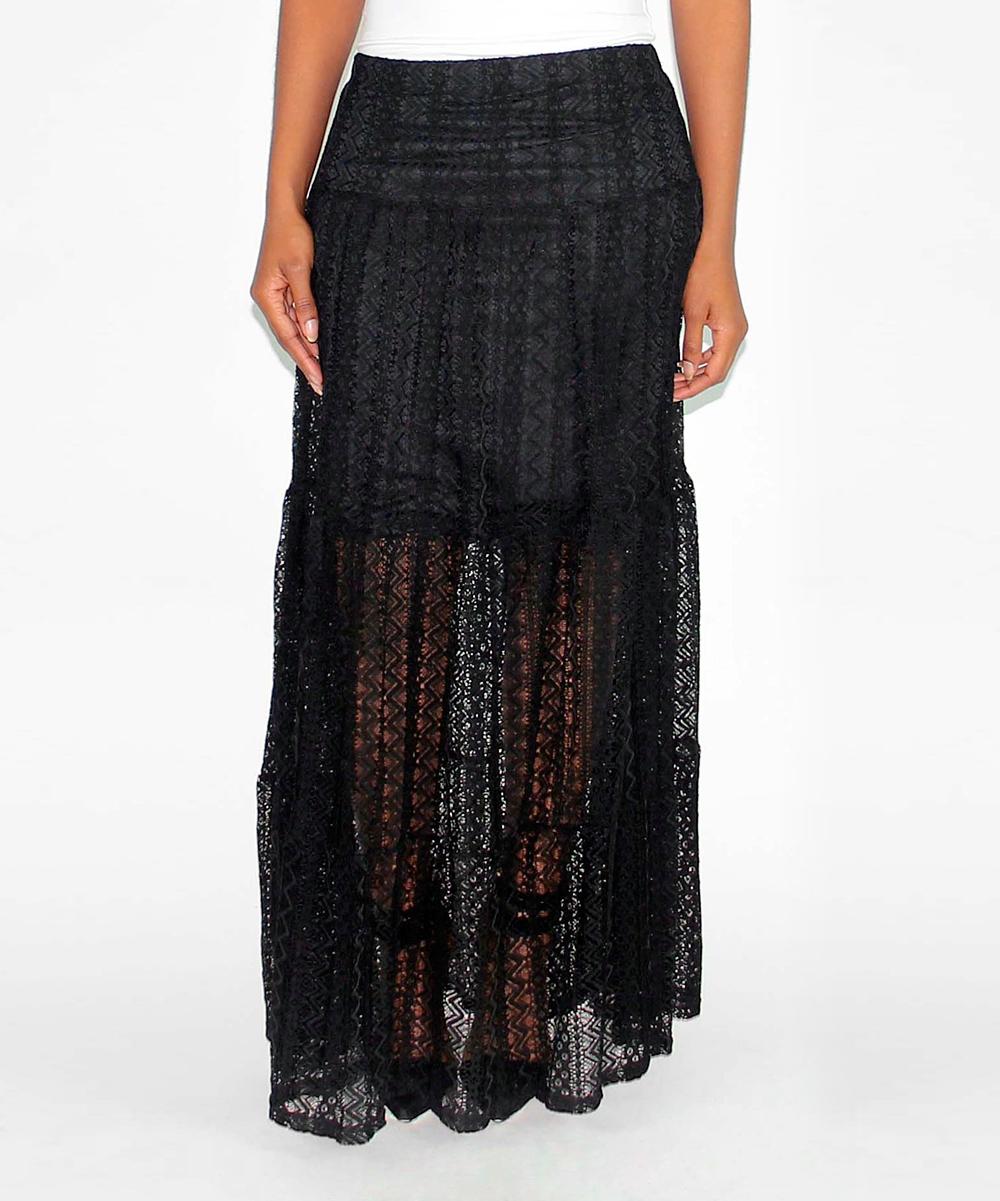 black sheer lace maxi skirt zulily