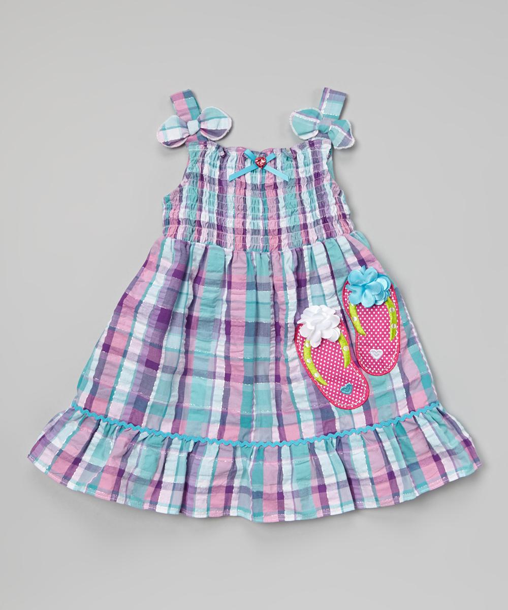Youngland blue amp pink plaid flip flops dress girls zulily