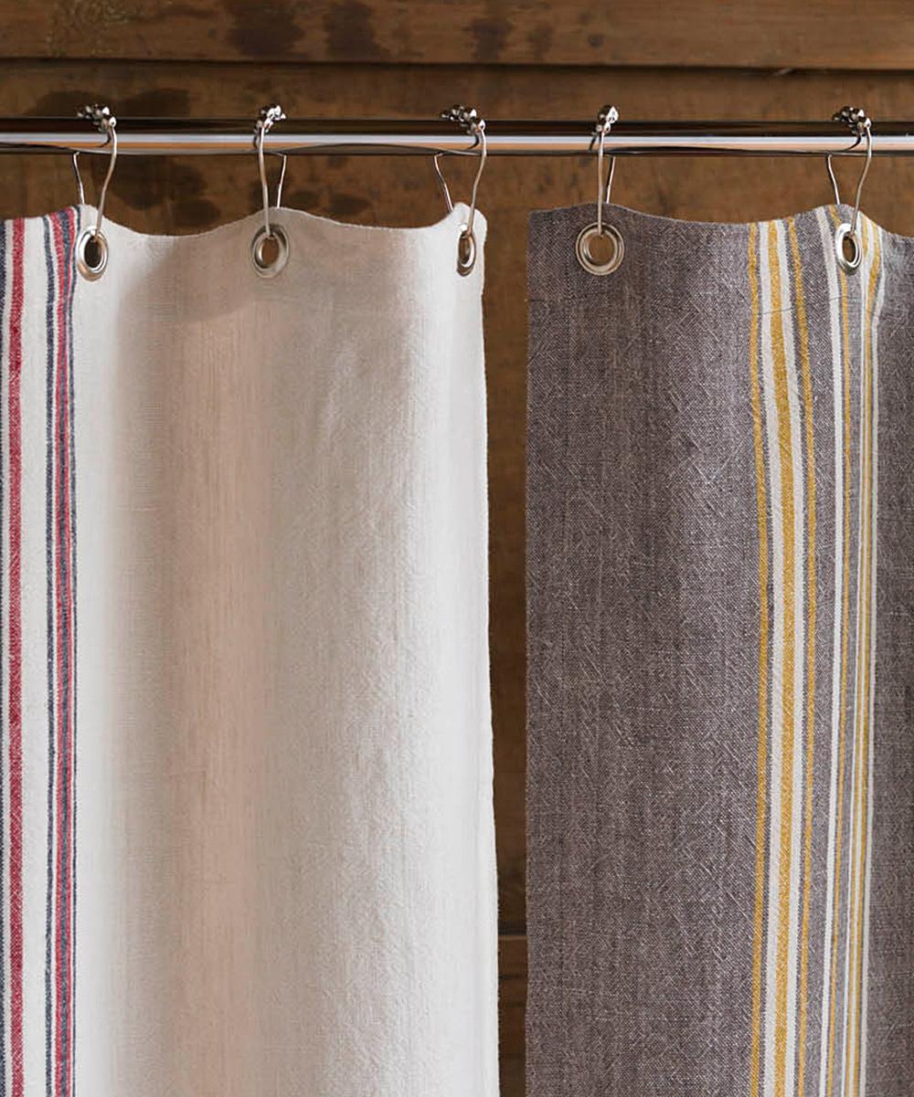 Natural Red & Indigo Rustic Shower Curtain