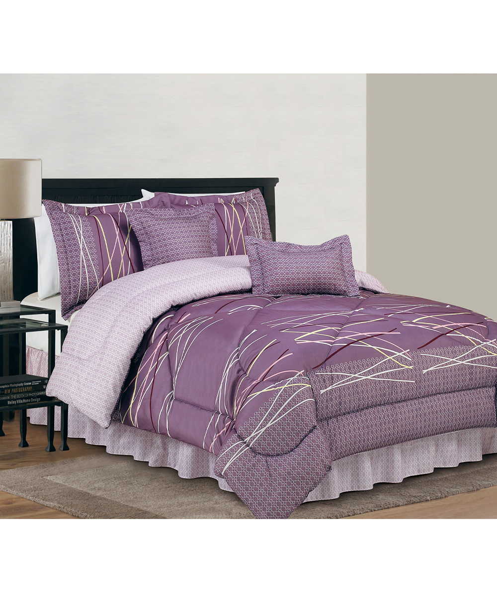 River textile purple amp gray bellevue reversible comforter set zulily