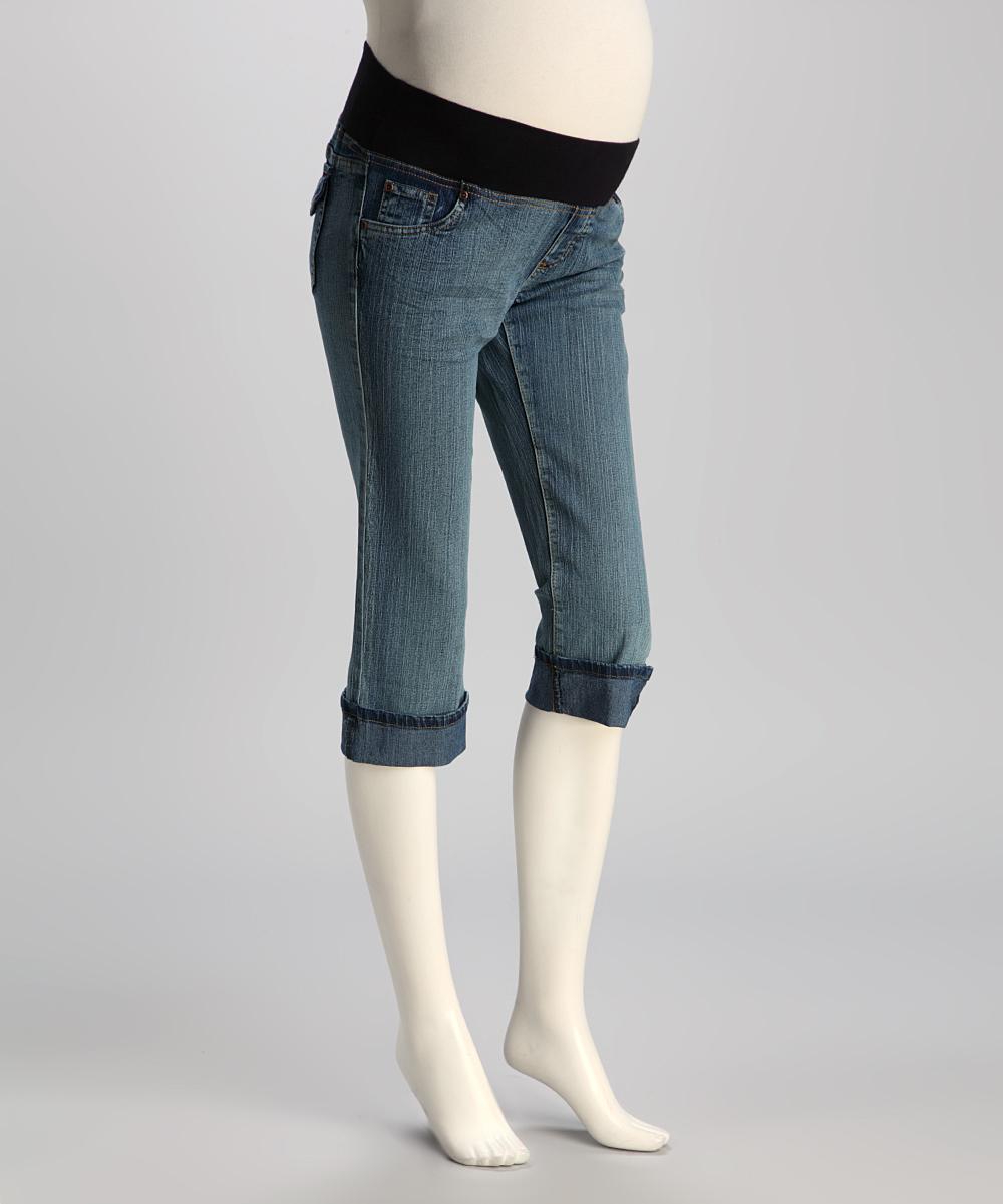 oh mamma light wash under belly maternity capri jeans. Black Bedroom Furniture Sets. Home Design Ideas